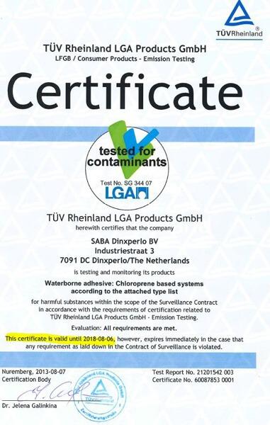 床墊黏著劑 荷蘭SABA水性膠 LGA認證