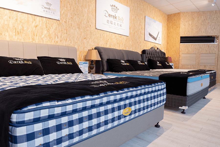 德瑞克名床門市實景照-床墊、枕頭、保潔墊都可以現場試躺體驗